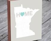 Minnesota Art - Minnesota Print - Minnesota Map - Wood Block Art Print