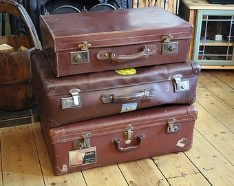 Suitcase Trunk Vintage Leather