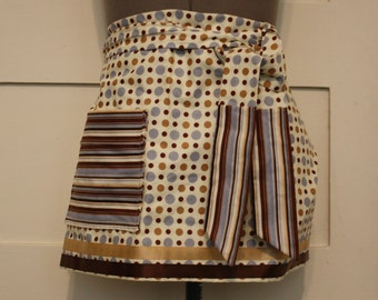 Brown and Blue Half Apron, Polka Dot Stripe Apron, Traditional Apron, Craft Apron, Baker Apron, Women's Apron, Unique Christmas Gift for Her