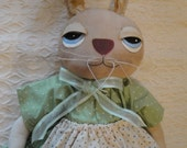 Green Dress Rabbit art doll Easter Spring summer rabbit cloth art doll by Morning Mist Designs