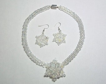 Winter wedding snowflake necklace choker and earring set crystal