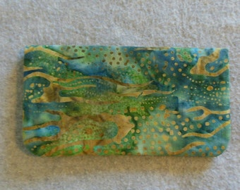 Fabric Checkbook Cover - Undersea Batik