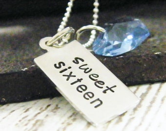 sweet sixteen sterling silver necklace