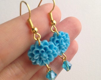 Blue Chrysanthemum Drop Gold Earrings