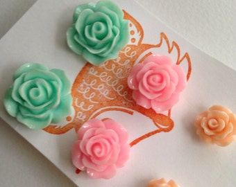 Flower Post Earring Set, three pair set of flower studs - roses. Peach, pink, teal.