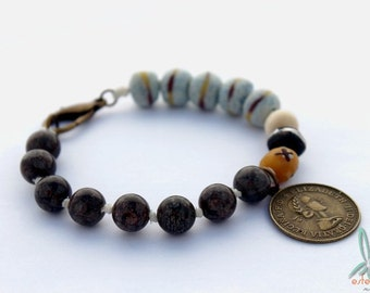 Okavango - Tribal, ethnic bracelet with gemstones and sandcast beads in brown and gray/blue