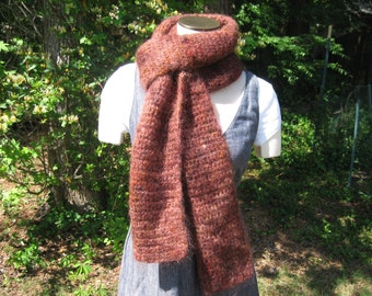 Warm & fuzzy wine-colored mohair scarf