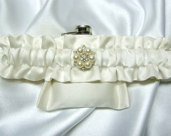 Brides Wedding Pocket Garter w/ Pearl and Crystal Rhinestone Embellishment-Your Choice of White Or Ivory-NO FLASK