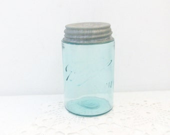 Old Ball Mason Blue Jar Pint Zinc & Porcelain Lid //