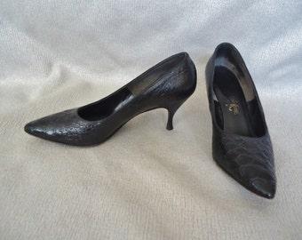 Black Lizard Vintage 1950's Women's Stilletto Pumps Shoes 7 N