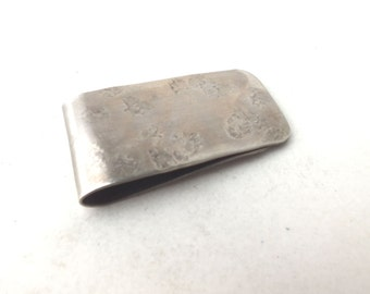 Money Clip  in Nickel  Silver ---Antique Finish with Heavy Texture
