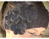 Crochet Flower Headband headwrap -  brown