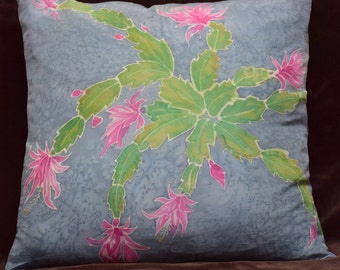 Christmas Cactus Pillow Cover Handpainted Silk