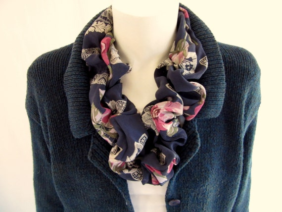 Silk Infinity Scarf Vintage Silk Red White Blue Floral And