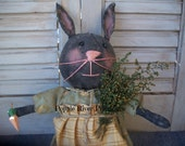 Black Primitive Bunny, Spring Primitive Black Rabbit