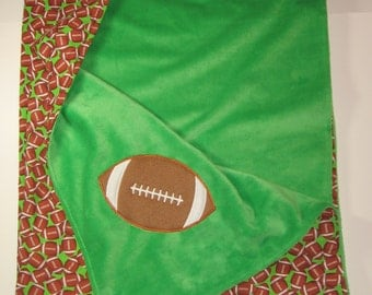 Large Baby Boy Blanket, Toddler Blanket, Baby Boy Item, Football Blanket, Minky Blanket, Lap Blanket, Baby Boy Gift, 36 x 41, , RTS