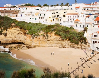 Portgual Photography - Beach Landscape - Whitewashed Architecture Print - Portuguese Art - Cliffs and Sea - Natural - Turquoise White Sand