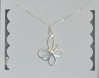 Butterfly Necklace, Sterling Silver, Handmade Necklace, Birthday Gift, Bridesmaid Gift, Children's Jewelry, Mother's Day Gift,