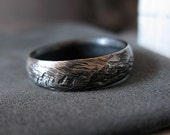 Rustic Man Wedding Band Oxidized Sterling Silver 6mm Width Man Wedding Ring Commitment Ring Vintage Ring Unique Wedding Band
