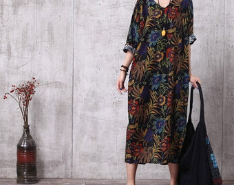 Sale - Casual Loose Fitting Cotton Long Dress Blouse- Women Maxi dress(M, L, XL, 2XL, 3XL) Plus Size