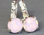 Pink Opal Drop Earrings, Pink Earrings Pink Silver Drop Earrings Swarovski Drop Earrings Bridesmaids Earrings Gift for woman Pink Earrings