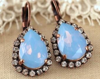 Ice Blue Earrings,Swarovski earrings,Blue Opal Earrings,Blue Drop Earrings,Blue Dangle Earrings,Blue Sky Earrings,Gift for her,Bridal Jewels