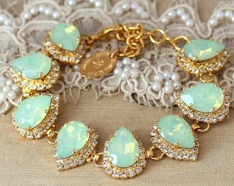 Mint Opal Swarovski Bracelet Seafoam Silver Bridal Bracelet Teardrop Gold Swarovski Bracelet Mint Opal, Mint Opal Swarovski wedding jewelry