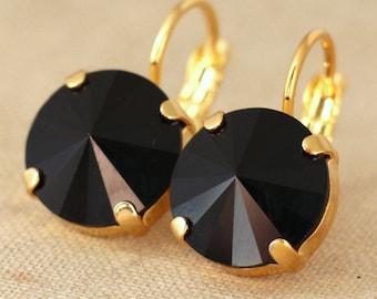 Black Earrings,Swarovski Black Gold earrings,Black Drop Earrings,Jet Black Dangle Earrings,Gift for Her,Gold Earrings,Black Drop Earrings