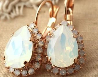 White Opal Rose Gold earrings White Opal Swarovski drop earrings Rose Gold Dangle earrings Shabby Chic Wedding earrings, white Opal earrings