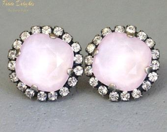 Rose Quartz Earrings,Pink Earrings,Pink Opal Stud earrings,Swarovski Earrings,Powder Pink Crystal earrings,Cotton Candy Wedding,Pink Studs