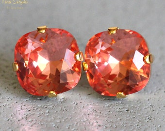 Peach Earrings,Peach Swarovski Stud Earrings,Bridesmaids Earrings,Orange Peach Bridal Earrings,Peach Crystal Studs,Coral Studs,Orange Studs