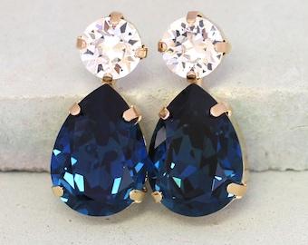 Blue Navy Earrings,Navy Blue Earrings,Dark Blue Swarovski Earrings,Bridal Navy Stud Earrings,Bridesmaids Earrings,Midnight Blue Earrings