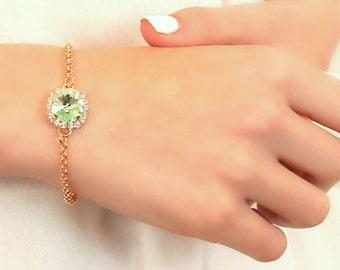 Mint Crystal Bracelet, Mint Swarovski Bracelet,Bridesmaids Clear Mint Bracelet,Mint Green Sea Foam Bracelet,Bridesmaids gift,Gift For Her