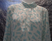 CLEARANCE  Vintage Silky Printed 80's High Neck Blouse  M
