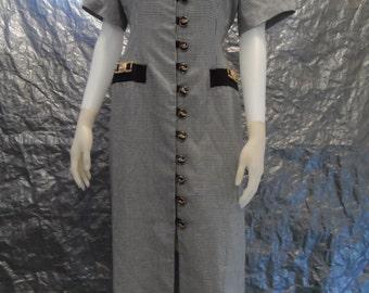 Vintage Black & White Check 1980's Dress M