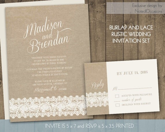 Rustic Romantic Wedding Invitations: Rustic Lace Wedding Invitations Suite Romantic By