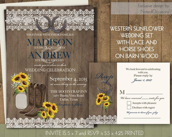 Cowboy Boot Wedding Invitations: Rustic Sunflower Wedding Invitations Set Western By