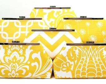 Wedding Clutch Bridesmaid Gifts Wedding Party Clutch Purse Bags Custom Personalized Gifts - You Design Your Set Yellow