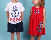 Summer Dress and Shirt Set- Anchor Applique- Beach Outfits- Summer Outfits- Personalized Brother Sister Sibling Set