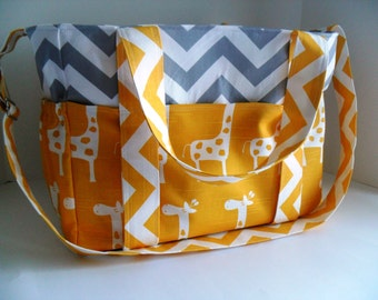 Extra Large Diaper Bag Made - Chevron and Yellow Giraffe Fabrics - Elastic Pockets - Diaper Bag - Messenger Bag - Tote Bag - Personalized