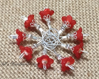 Red Flower Stitch Markers, Snag Free Wire Loop Markers, Gift for knitters
