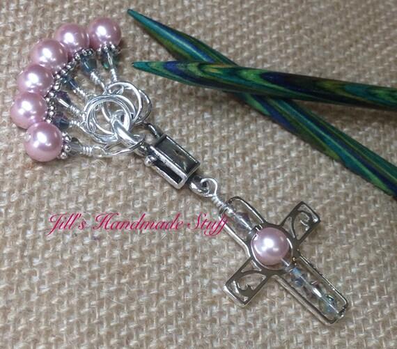 Knitting Holder Stitches : Knitting Gift Cross Stitch Marker Holder & Snag Free Beaded