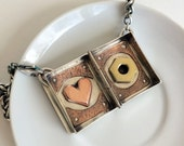 Handmade Sterling Silver Locket with Copper Heart & Brass Hex Nut with Chunky Wheat Chain