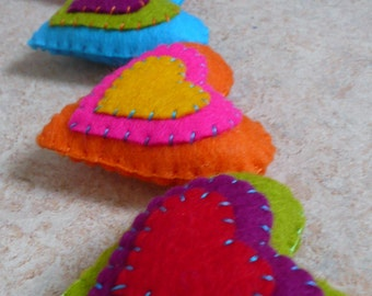 Colorful felt hearts garland - made to order