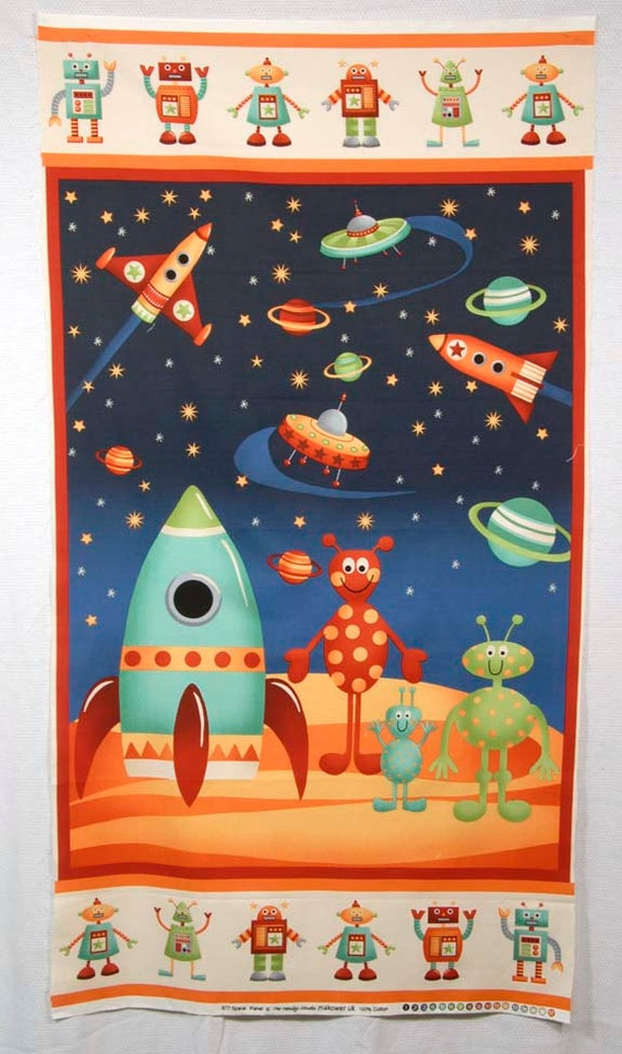 makower henley studio fabric panel space robots