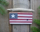 Folk Art - American Flag- Driftwood Wall Hanging - Hand Painted Recycled Wood Wall Art - Fourth of July Decor