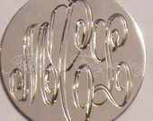 Monogram Necklace 3/4 Inch Hand Engraved Three Initial Custom Pendant with 18 inch chain