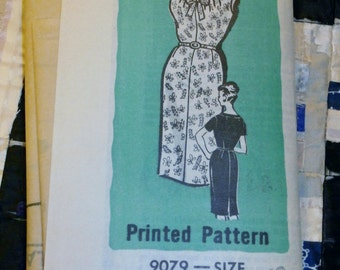 "1960s Vintage Mail Order Wiggle Day Dress Pattern 9079, Misses Dress Size 42, Bust 44"", Waist 36"", Hips 46"""