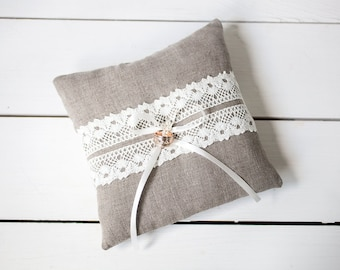 Ring pillow - Ring Bearer Pillow - Linen Ring Bearer Pillow -  Rustic Wedding linen lace Ring Pillow - linen ring pillow - Wedding pillow