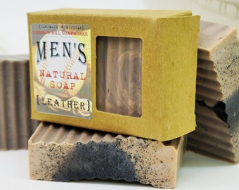 LEATHER Men's Soap - large 5.5 oz, masculine scent, shea butter, mango butter, cocoa butter, vegan, natural